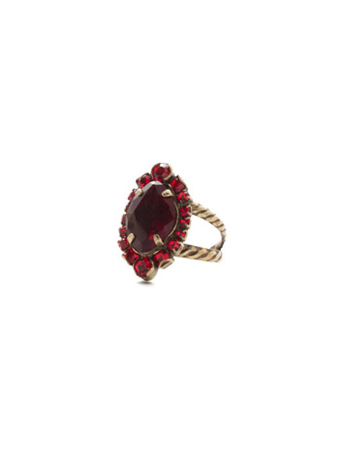 *Special Order* Sorrelli Sansa Red  Crystal Eustoma Cocktail Ring~RDS44AGSNR