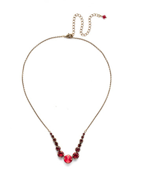 *Special Order* Sorrelli Sansa Red  Crystal Necklace ~NCQ14AGSNR