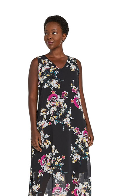 Sympli Whisper Sleeveless Double Layer Dress-9801-Black Floral