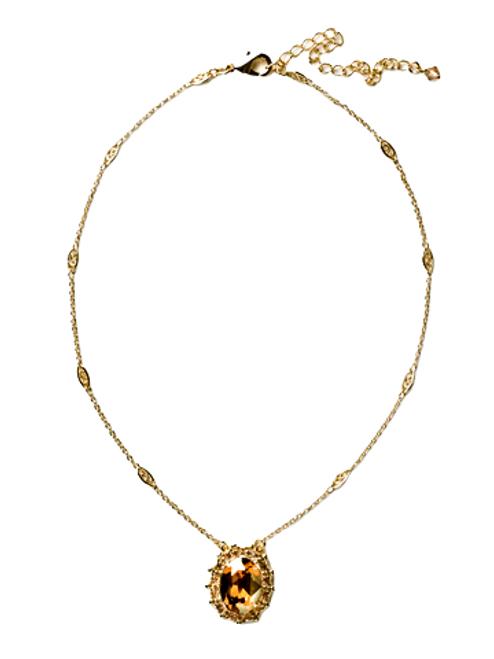 Sorrelli Gold Leaf Crystal Pendant-NCU4BGGOL