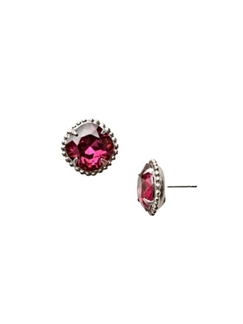 Sorrelli Essentials~Fuchsia Cushion Cut Crystal Earrings~EBX10ASFU