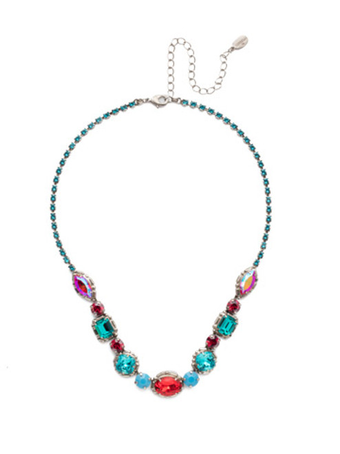 Sorrelli Cardoon Crystal Statement Necklace in Ruby Moroccan Turquoise-NDX7ASRTU
