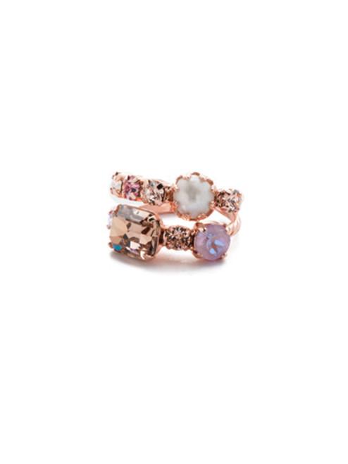 Sorrelli- Lavender Peach- Emmanuella Stacked Ring~ RES12RGLVP