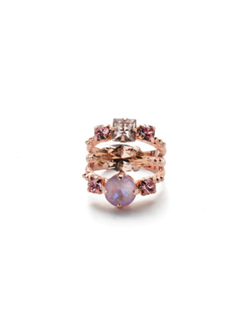 SORRELLI- LAVENDER PEACH GLORIA STACKED RING- REN12RGLVP