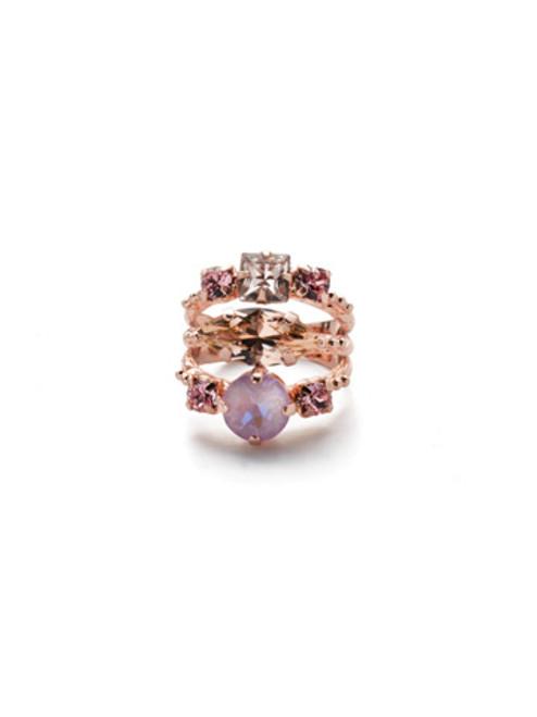Sorrelli Lavender Peach- Gloria Stacked Ring~ REN12RGLVP