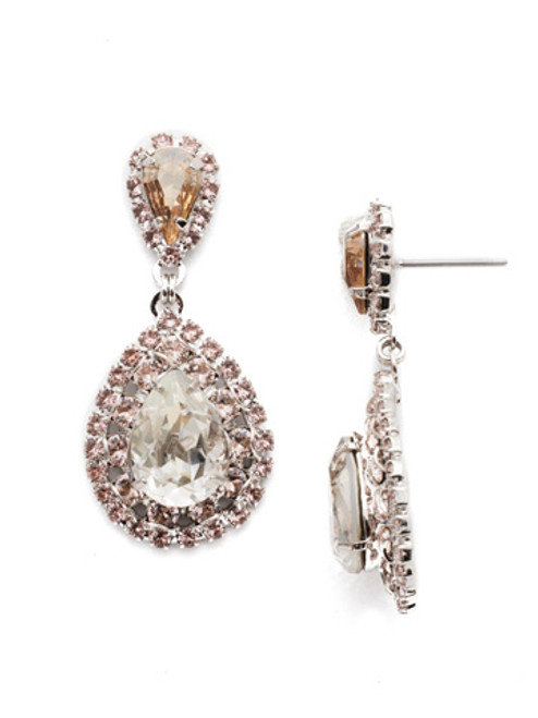 SORRELLI SOFT ROSE OVAL ENCRUSTED CRYSTAL DANGLE EARRINGS~ECW47RHSRO