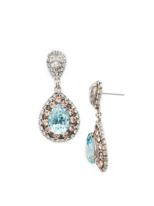 SORRELLI SKY BLUE PEACH OVAL ENCRUSTED CRYSTAL DANGLE EARRINGS~ECW47ASSKY