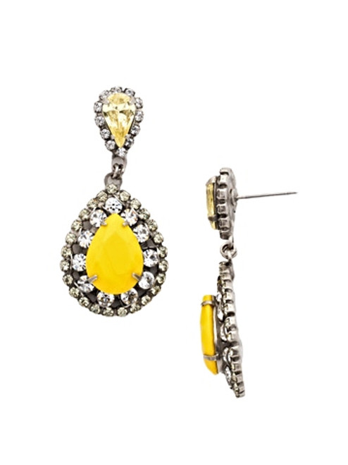 SORRELLI LEMON ZEST OVAL ENCRUSTED CRYSTAL DANGLE EARRINGS~ECW47ASLZ