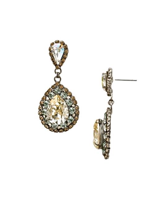 Sorrelli Egg Shell Oval Crystal Dangle Earrings~ ECW47ASEGS