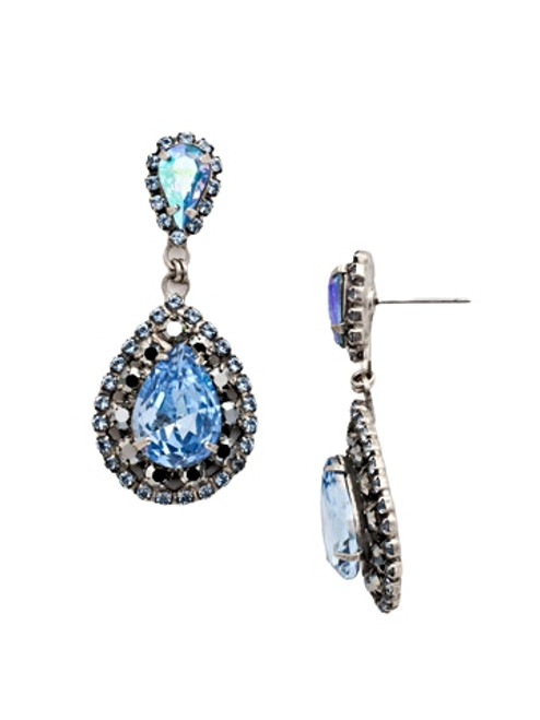 Sorrelli Ice Blue Oval Encrusted Crystal Dangle Earrings~ ECW47ASIB