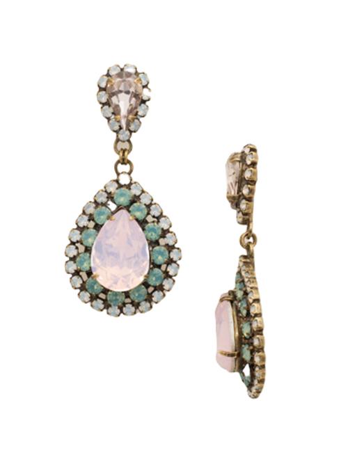 Sorrelli Rose Water Oval Crystal Dangle Earrings~ ECW47AGROW