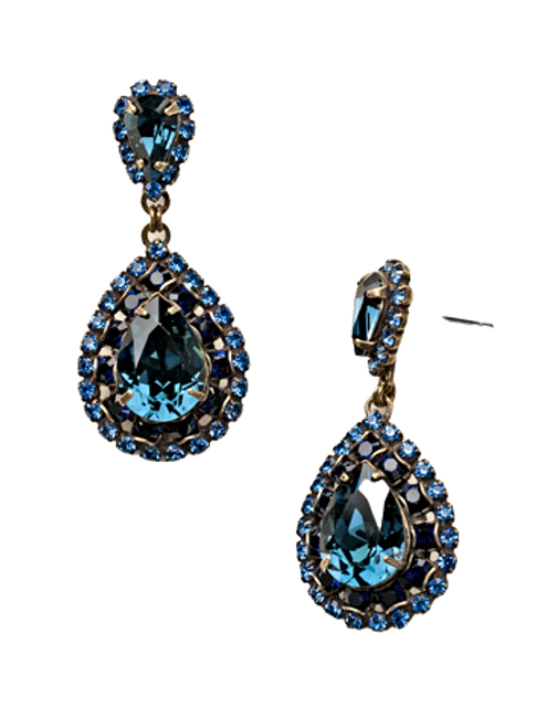 Sorrelli Dress Blues Oval Crystal Dangle Earrings~ ECW47AGDBL