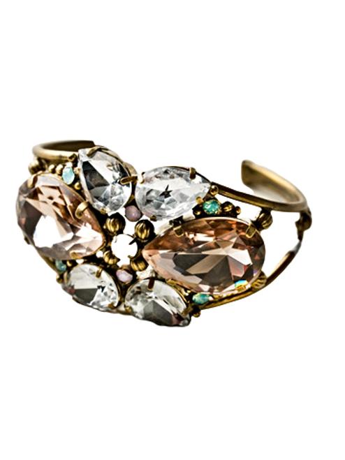 Sorrelli Rose Water Secret Garden Crystal Cuff Bracelet~ BCP1AGROW