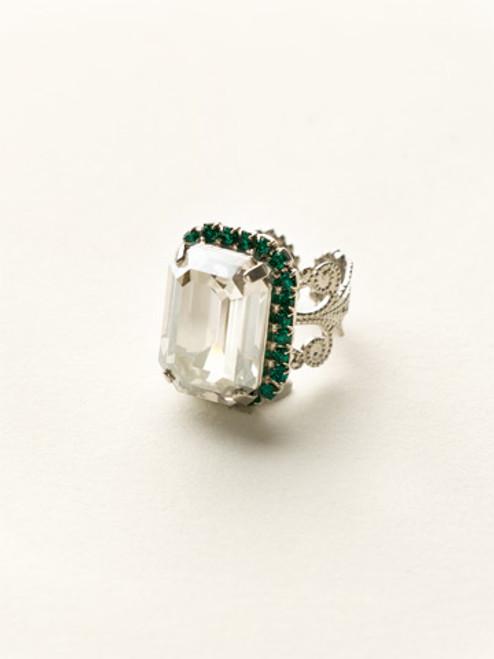 Sorrelli- Viridescence Petite Emerald Cut Cocktail Ring- RCF9ASVR