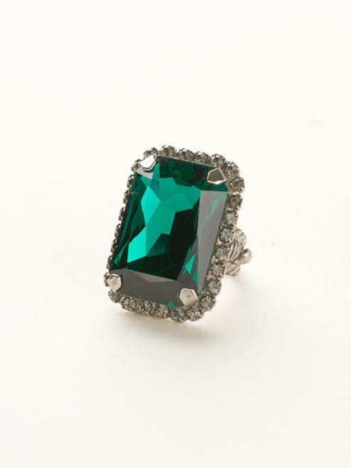 Sorrelli- Viridescence Luxurious Emerald Cut Cocktail Ring- RBT69ASVR