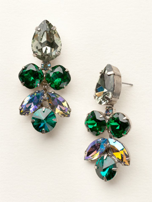 Sorrelli- Viridescence Crystal Lotus Flower Dangle Earrings- ECR1ASVR