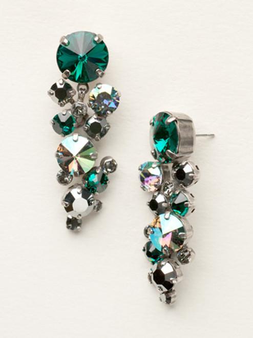 Sorrelli- Viridescence Circular Crystal Cluster Drop Earrings- ECW10ASVR