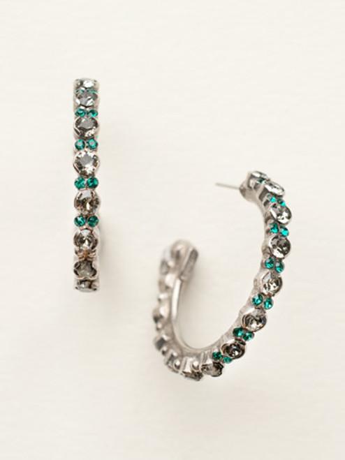 Sorrelli- Viridescence Prongless Crystal Hoop Earrings- ECR107ASVR