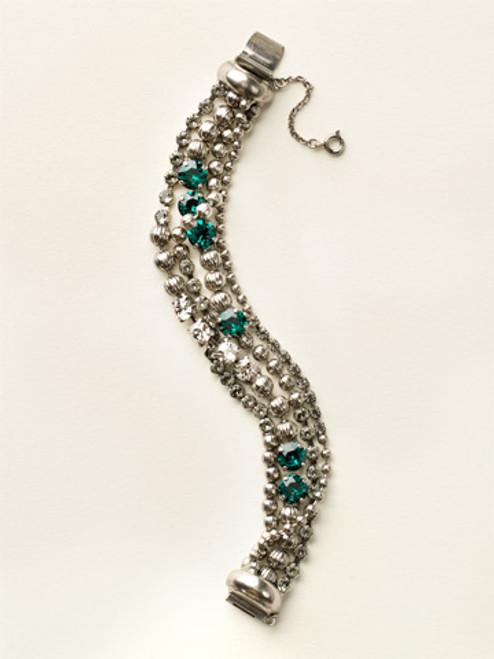 Sorrelli- Viridescence Multi-Strand Crystal and Corrugated Ball Chain Bracelet- BCU37ASVR