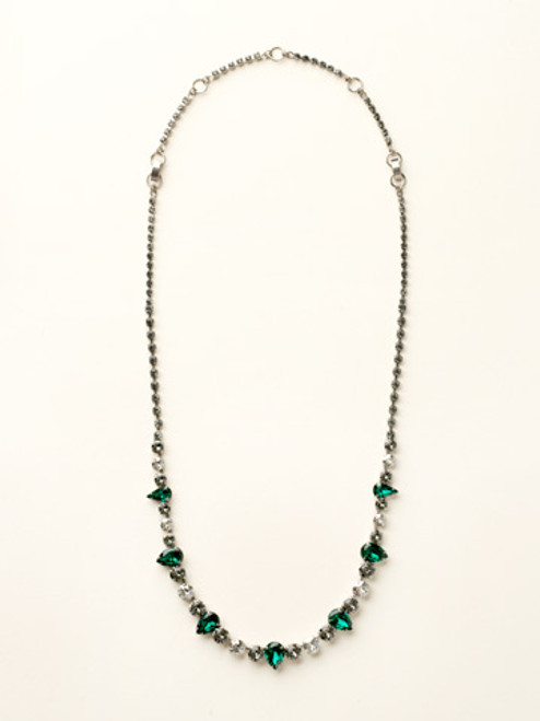 Sorrelli- Viridescence Pear and Round Cut Crystal Long Strand Necklace- NCR19ASVR