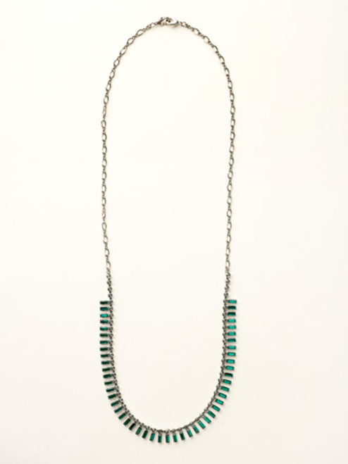 Sorrelli- Viridescence Crystal Baguette Long Strand Necklace- NCT3ASVR