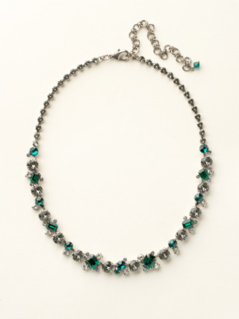 Sorrelli- Viridescence Glittering Multi-Cut Crystal Necklace- NCF6ASVR