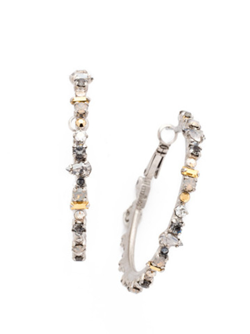 Sorrelli Gold Vermeil Multi-Cut Crystal Encrusted Hoop Earrings- EDB8ASGV