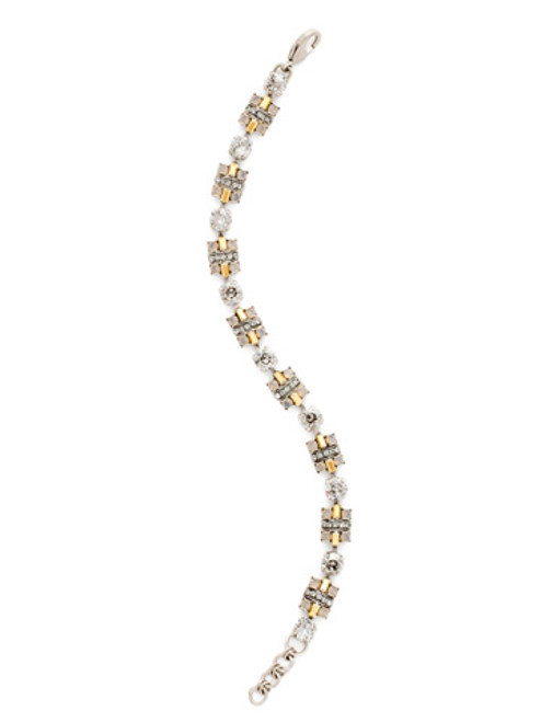 Sorrelli -Gold Vermeil Geometric Crystal Section Line Bracelet- BDE21ASGV