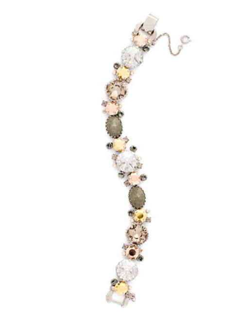 Sorrelli -Gold Vermeil Multi-Cut Crystal and Semi-Precious Line Bracelet- BDE1ASGV