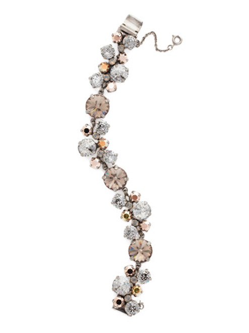 Sorrelli- Gold Vermeil Circular Crystal Cluster Line Bracelet- BCW10ASGV