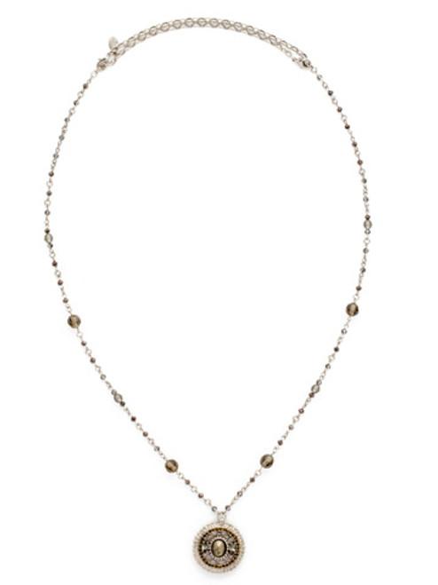 Sorrelli Gold Vermeil Encompassing Oval Pendant Necklace- NDE47ASGV