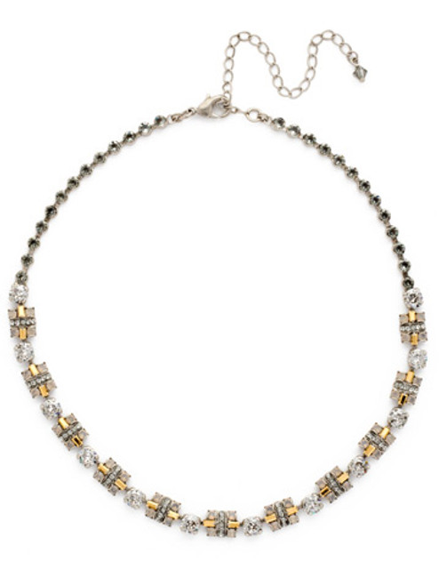 Sorrelli Gold Vermeil Geometric Crystal Section Line Necklace- NDE21ASGV