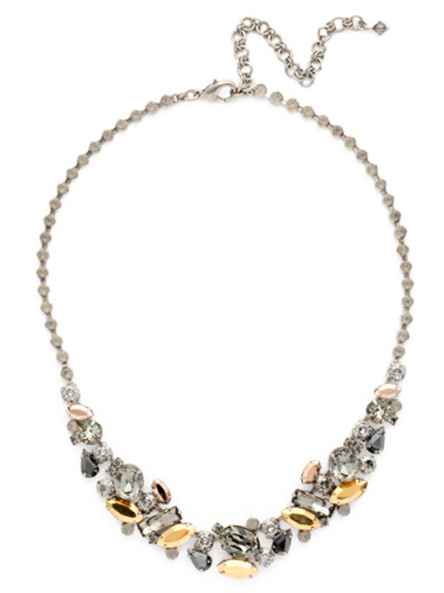 Sorrelli Gold Vermeil Abstract Crystal Collar Necklace- NDG11ASGV