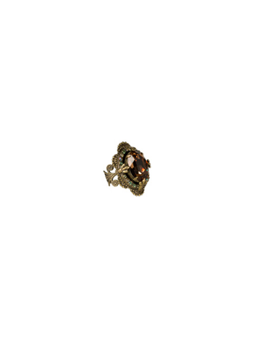 Sorrelli- Water Lily- Vintage Inspired Crystal Cocktail Ring- RCB7AGWL