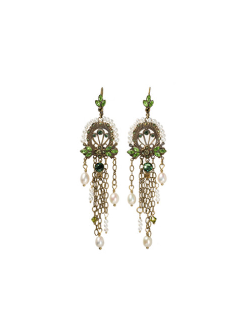 Sorrelli- Water Lily- Swarovski Crystal Chandelier Earrings with Pearl Accents~ EBP40AGWL