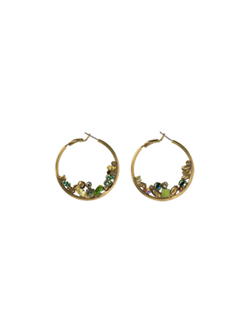 Sorrelli- Water Lily- Floating Crystals Hoop Earrings~ ECF45AGWL