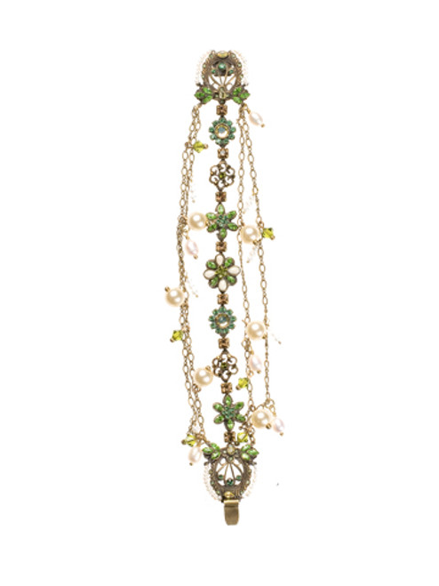 Sorrelli- Water Lily- Vintage Style Bracelet with Pearl Accents~ BBP40AGWL