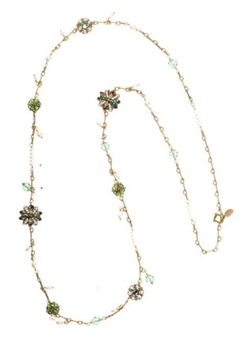 Sorrelli- Water Lily- Swarovski Crystal Long Strand Necklace~ NBP68AGWL