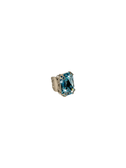 **MADE TO ORDER**Sorrelli Emerald Coast Large  Emerald Cut  Crystal Cocktail Ring-RCF2ASECO