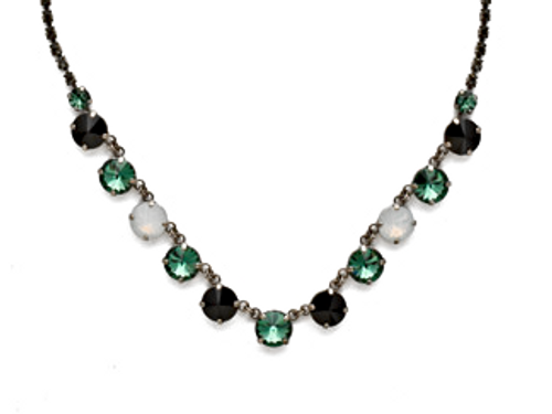 SORRELLI GAME DAY GREEN SIMPLY SOPHISTICATED CRYSTAL LINE NECKLACE- NDK6ASGDG