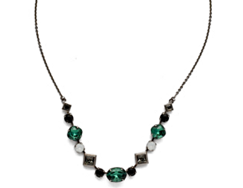 SORRELLI GAME DAY GREEN CORDELIA CRYSTAL TENNIS NECKLACE-NEK29ASGDG