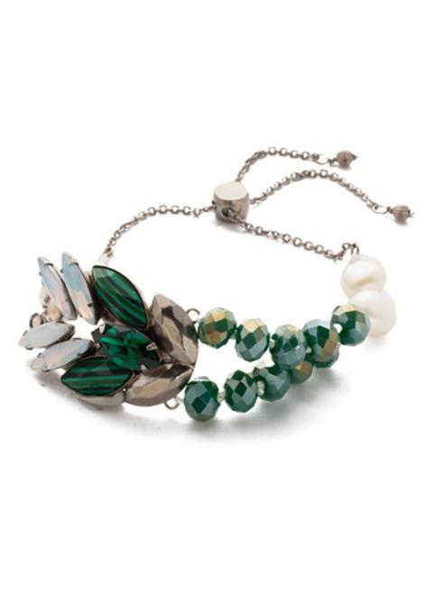Sorrelli Snowy Moss Viserion Crystal Slider Bracelet~BEF11ASSNM