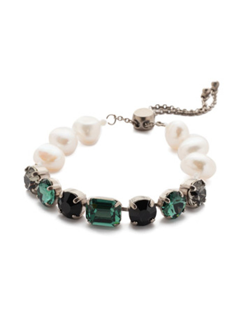 SORRELLI GAME DAY GREEN CADENZA CRYSTAL SLIDER BRACELET- BEC14ASGDG