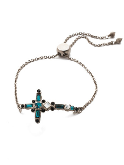 SORRELLI GAME DAY GREEN VENEZIA CRYSTAL SLIDER  CROSS BRACELET-  BEC23ASGDG