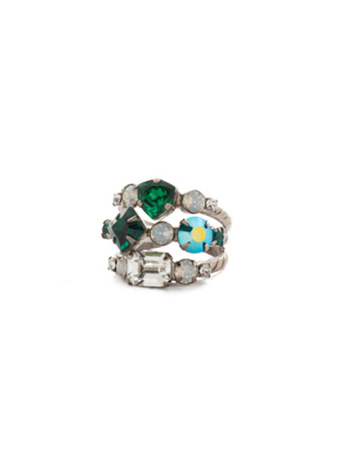 SORRELLI SNOWY MOSS SEDGE STACKED CRYSTAL RING- RDX1ASGDG