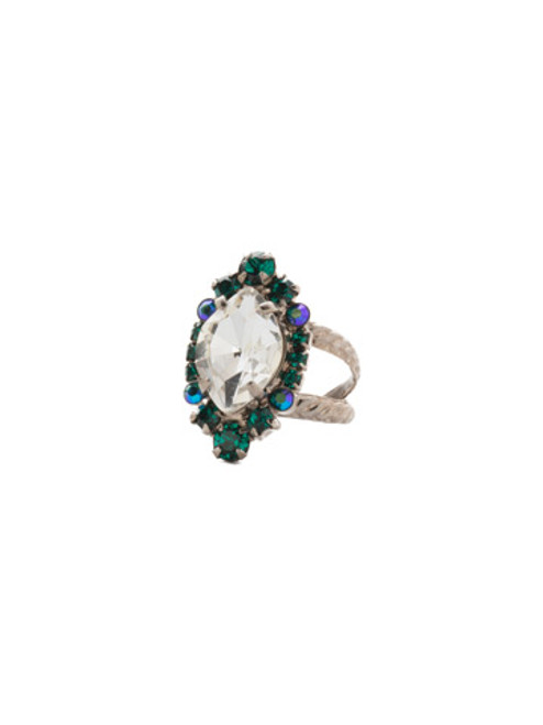 SORRELLI SNOWY MOSS EUSTOMA CRYSTAL RING- RDS44ASSNM