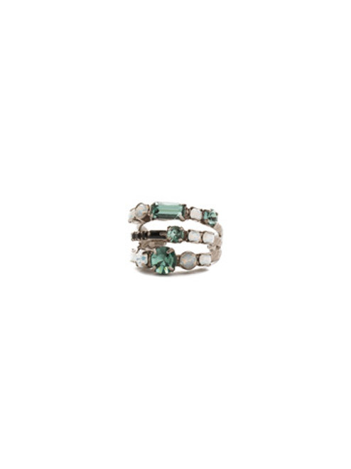SORRELLI GAME DAY GREEN TRIPLE THREAT CRYSTAL STACK RING- RDK23ASGDG
