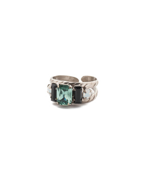 SORRELLI GAME DAY GREEN PETITE GEO BAND CRYSTAL RING- RDG78ASGDG