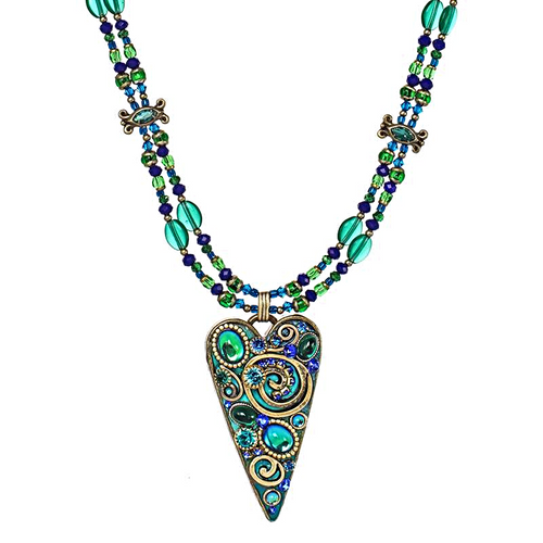 Michal Golan Emerald Long Heart Necklace~N4356