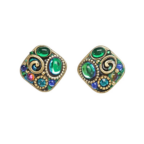 Michal Golan Emerald Diamond Earrings~S8061